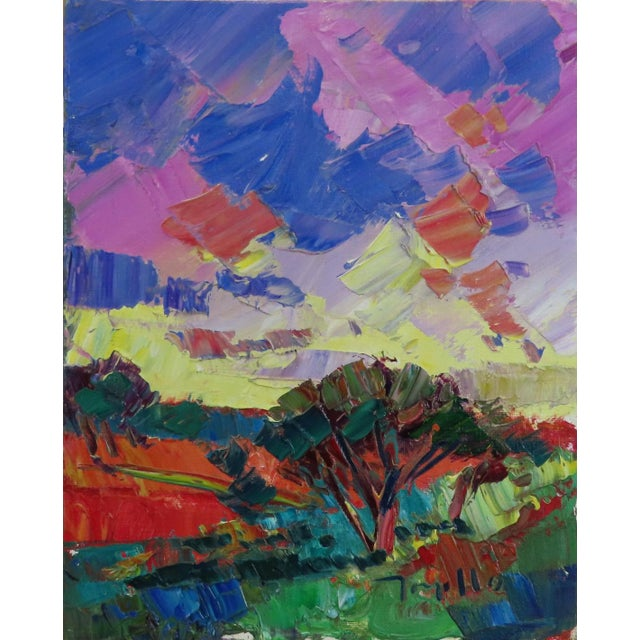 Jose Trujillo Modern Impressionist Oil Painting, Desert Sunrise For Sale