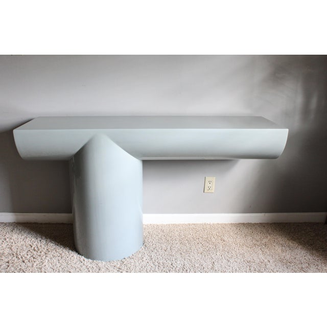 """Space Age Gray Lacquered J. Wade Beam """"Tee"""" Console Table for Brueton For Sale - Image 13 of 13"""