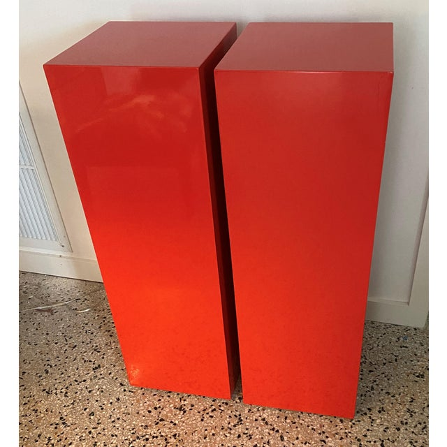 Red Vintage Minimalist Red Pedestals - a Pair For Sale - Image 8 of 13