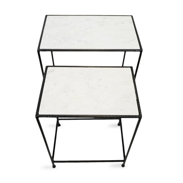 2020s White Marble & Iron Nesting Tables - a Pair For Sale - Image 5 of 6