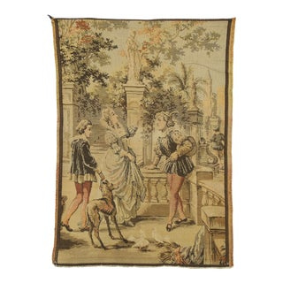 Vintage Belgian Venetian Tapestry With Venice Renaissance Canal Scene - 02'03 X 03'02 For Sale