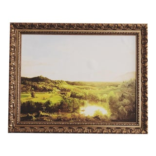 Classic Landscape Reproduction Oil Painting in Gold Frame For Sale