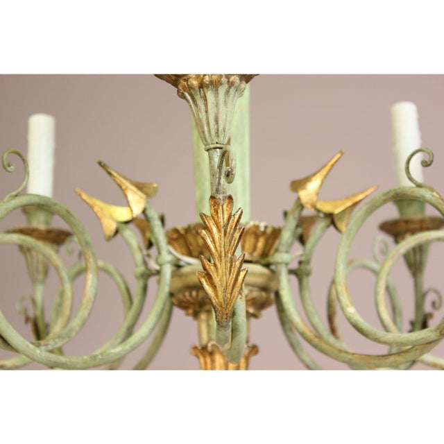 Italian 1960s Vintage Painted and Parcel-Gilt Chandelier For Sale - Image 4 of 9
