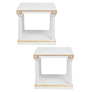 1940s Hollywood Regency Grosfeld House White Lacquer and Gold Leaf Side Tables - a Pair For Sale
