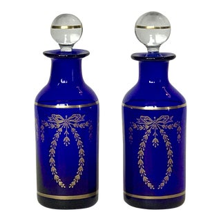 Vintage French Portieux Vallerysthal Cobalt Blue Glass Cologne Bottles With Ball Stoppers - a Pair For Sale