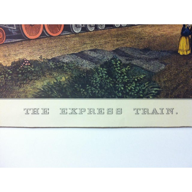 "American Currier & Ives Color Print, ""The Express Train"", 1956 For Sale - Image 3 of 4"