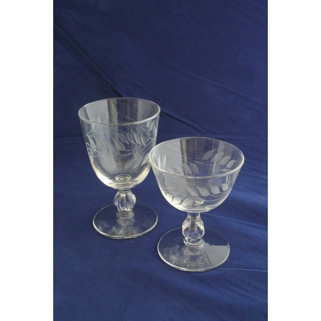 Antique Etched Crystal Champagne Coupes - Set of 9 For Sale - Image 10 of 11