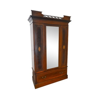Edwardian Period Antique English Mahogany Inlaid Mirror Door Armoire Wardrobe For Sale