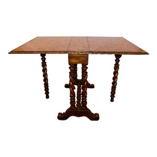 Theodore Alexander Burl Wood Drop-Leaf Table For Sale