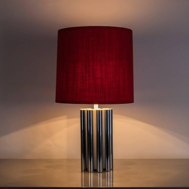 "Large table lamp model ""T-493"" by Luci, Milano. Heavy chromed body composed by cylinders and a tall red fabric original..."