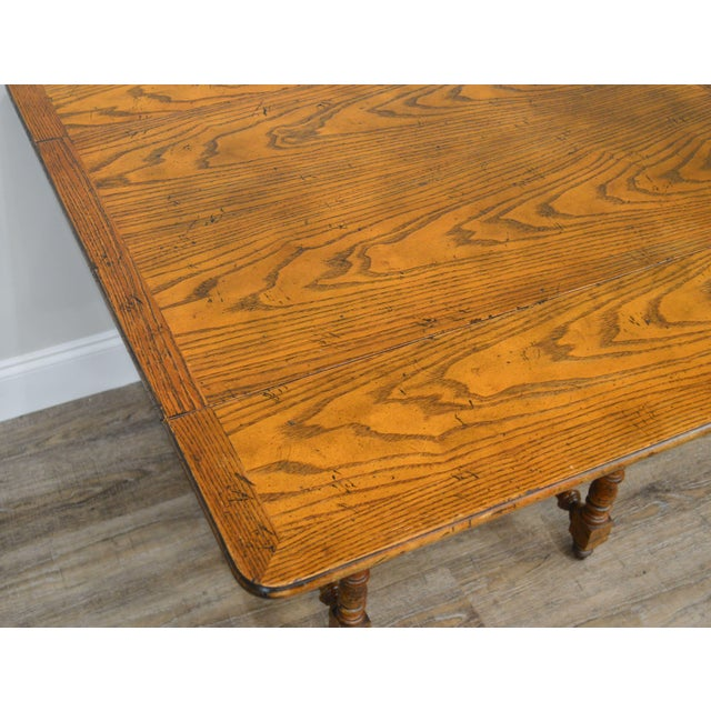 Baker Vintage Jacobean Style Oak Dropleaf High Low Adjustable Coffee Serving Table For Sale - Image 9 of 13