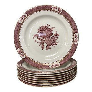 English Pink Transfer Ware Dinner Plates Set of 8 For Sale