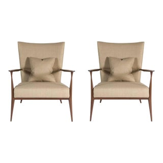 North Curved Back Armchairs - a Pair For Sale