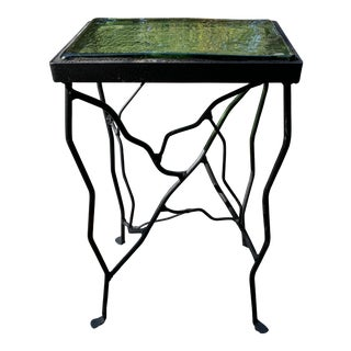 Art Deco Green Glass Side Table For Sale
