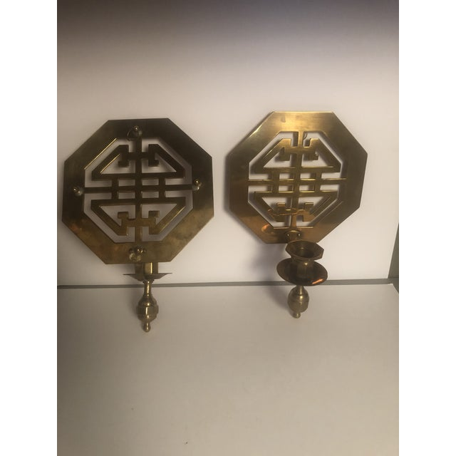 Asian Mid-Century Wall Brass Candleholders - a Pair For Sale - Image 3 of 10