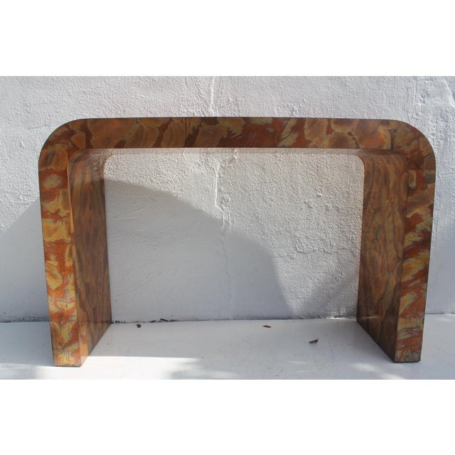 Vintage mid-century modern Paul Evans Style acid etched copper waterfall console table . In great vintage condition , with...