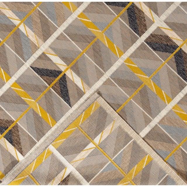 Mid-Century Modern 21st Century Modern Scandinavian Style Flat-Weave Rug For Sale - Image 3 of 12