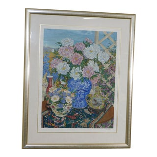 "John Powell ""Peonies"" Original Serigraph Still Life Flowers & Porcelain For Sale"