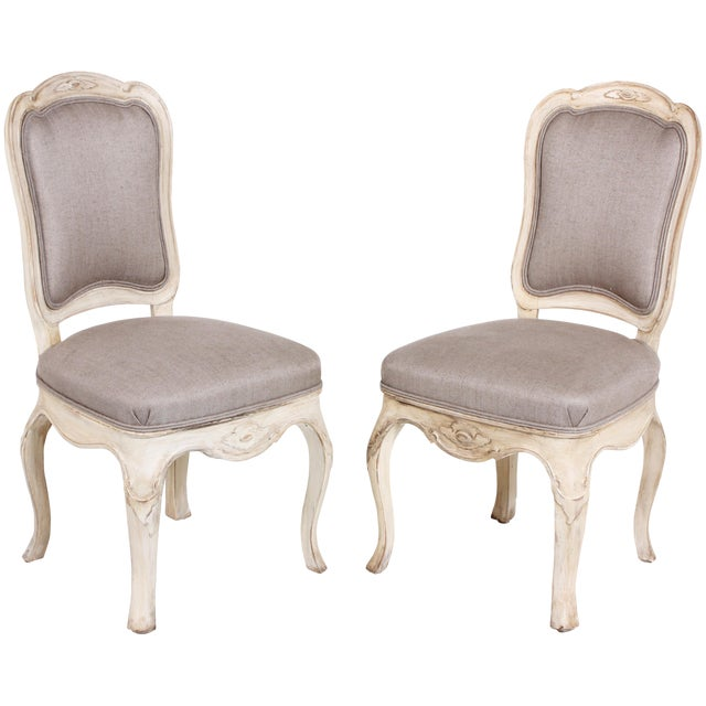 18th Century Swedish Baroque Side Chairs - a Pair For Sale