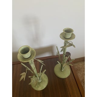 Vintage Bamboo Design Candle Holders - a Pair Preview