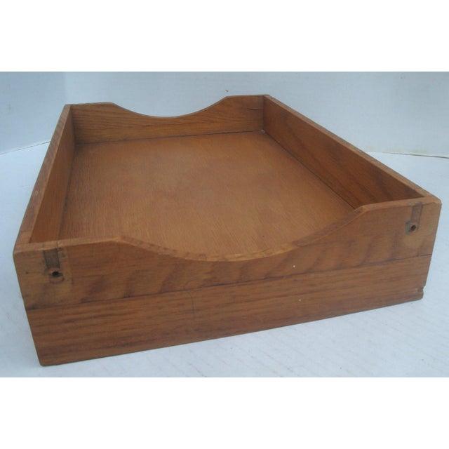 Mid-Century Modern Vintage Industrial Oak Desk Letter Basket Tray For Sale - Image 3 of 5