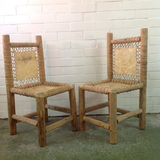 Vintage Handmade Lodgepole & Rawhide Chairs - Pair Preview