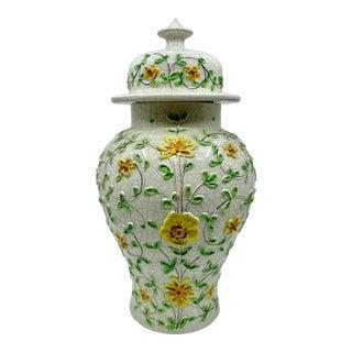Vintage Floral Embossed Ginger Jar- Made in Italy For Sale