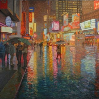Rob Longley, 'Rain, Times Square' Painting, 2014 For Sale