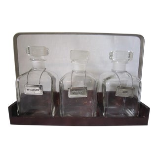 Vintage Glass Liquor Decanter Set For Sale