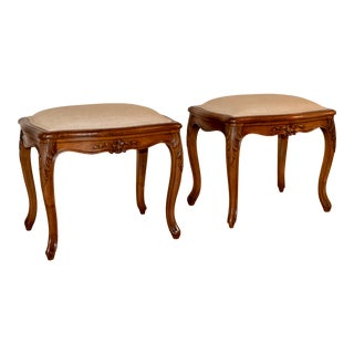 Pair of 19th Century French Cabriole Stools For Sale