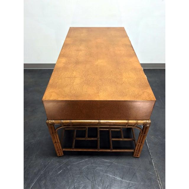 Brown Vintage Refurbished Henredon Bamboo Rattan Double Pedestal Desk For Sale - Image 8 of 13