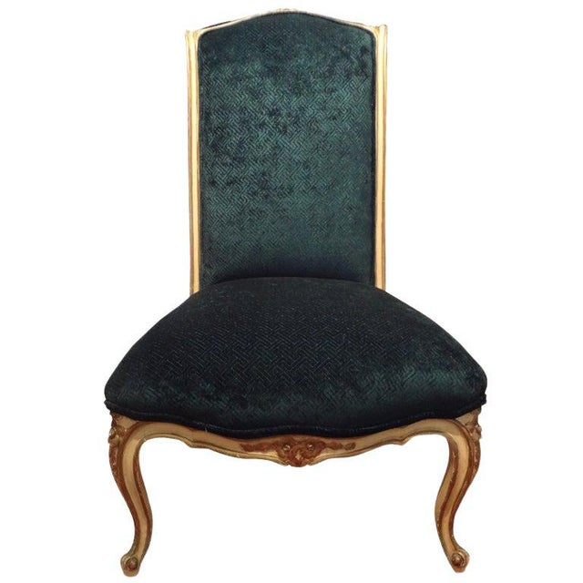 Wood 1920's French Louis XV Style Painted and Gilt Wood Chair For Sale - Image 7 of 8
