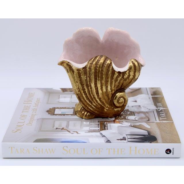 Italian Mid-20th Century Italian Ceramic Shell Cachepot Planter For Sale - Image 3 of 13