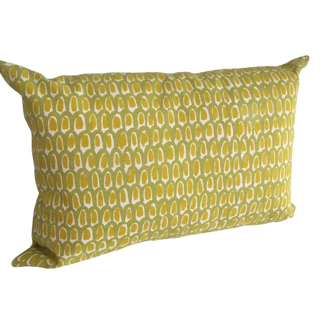 Green and Yellow Cotton Canvas Pillow - Image 1 of 6
