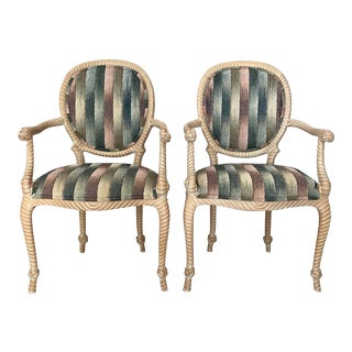 Vintage Carved Rope Twist Arm Chairs - a Pair For Sale