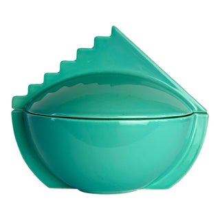 1980s Memphis Salins France Aqua Sugar Bowl With Lid For Sale