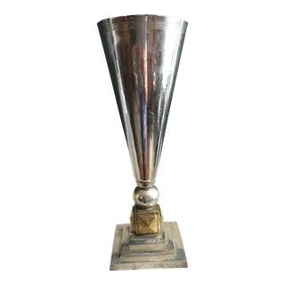 1920's Vintage Art Deco Silver Plate & Brass Trumpet Vase For Sale