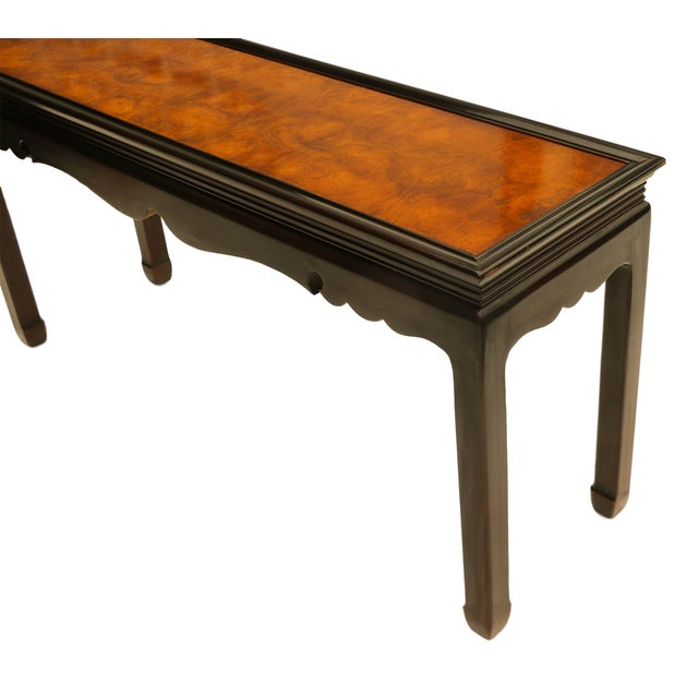 Asian Oriental Burlwood Console Table For Sale - Image 7 of 10