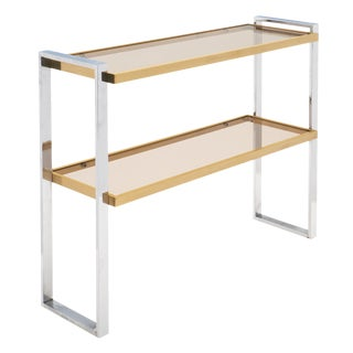 Italian Chrome and Brass Console Table For Sale