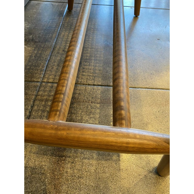 Wood Woven Cord and Teak Bench For Sale - Image 7 of 10