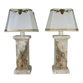 Pair of 19th Century Italian Carved Sphinx Lamps w/ Parchment Shades For Sale