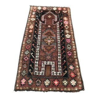 1960s Vintage Turkish Handmade Caucasian Rug - 3′1″ × 5′11″ For Sale