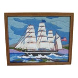 Image of 1960s Vintage Handmade Framed Sailboat Ocean Seascape String Art Crewelwork Needlework Embroidery For Sale