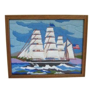 1960s Vintage Handmade Framed Sailboat Ocean Seascape String Art Crewelwork Needlework Embroidery For Sale