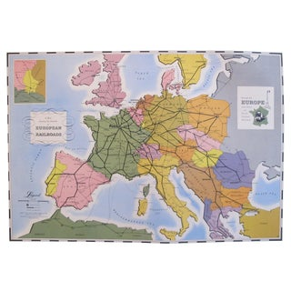 1949 Original Vintage French Travel Poster, European Railroad Map (Linen Backed) For Sale