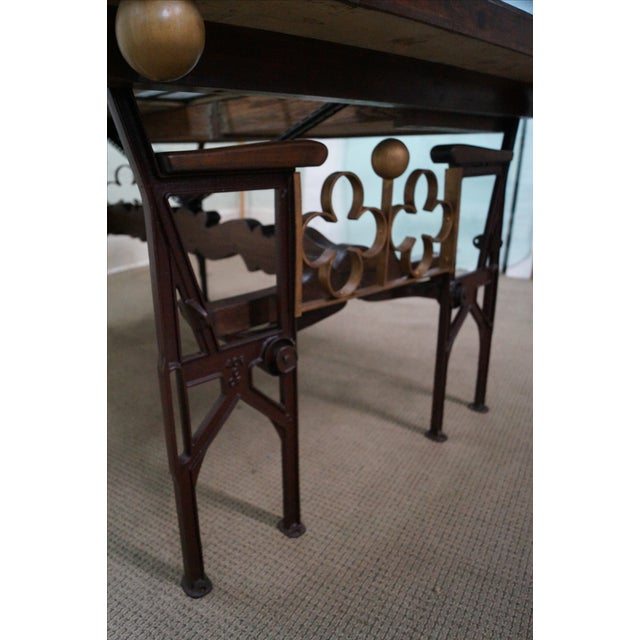 Brown Hand Crafted Iron Base Gothic Writing Desk For Sale - Image 8 of 10