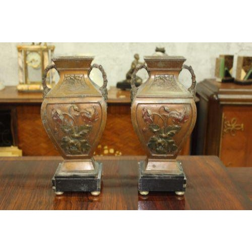Big Pair of French Art Deco Vase With Marble Base Circa 1935s For Sale - Image 4 of 10