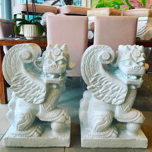 Vintage Chinoiserie Hollywood Regency Plaster Light Blue Lacquered Foo Dogs For Sale - Image 13 of 13
