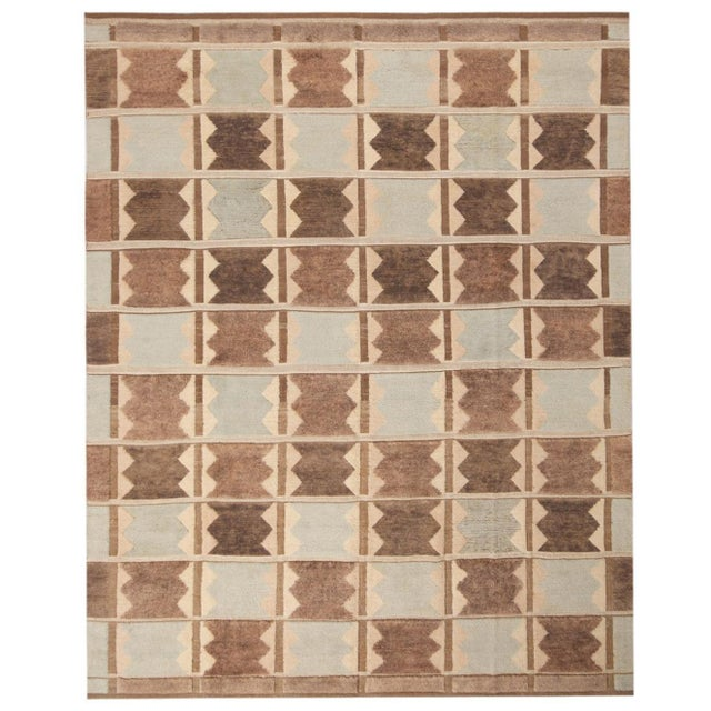 Rug & Kilim's Scandinavian-Inspired Geometric Gray and Blue Wool Pile Rug For Sale In New York - Image 6 of 6