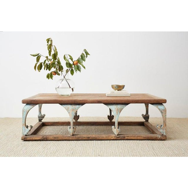 Monumental rectangular coffee or cocktail table having a rustic, weathered patina. Constructed from reclaimed pine...